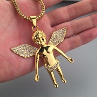 18k Gold Plated Iced Out Angel Pendant Large Size Hip Hop Cupid Necklace Mens Jewlery Franco