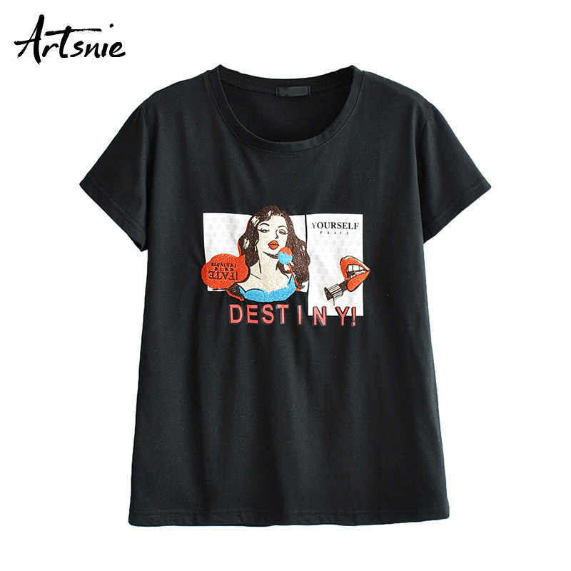 Artsnie streetwear character embroidery women t shirt summer 2019 o neck short sleeve black casual tops female t-shirt mujer tee