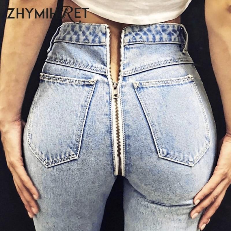 ZHYMIHRET Autumn Winter High Waist Back Zipper   Jeans   Women Fashion High Street Wear Pencil Denim Pants Female Trousers Pockets