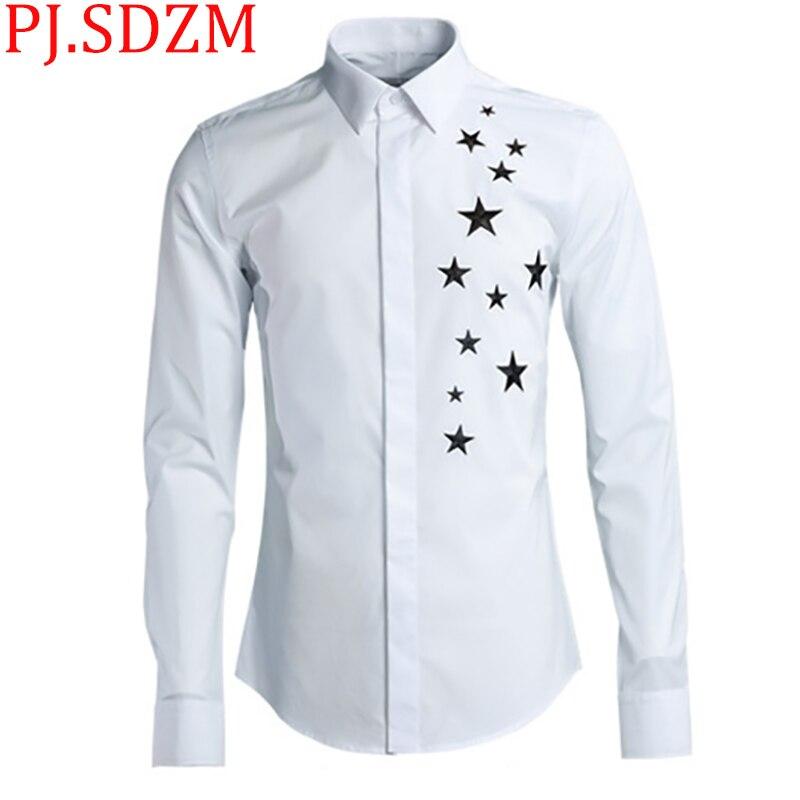 2018 جديد التطريز خمسة نجوم الطباعة الرجال قمصان أسلوب بسيط مع نجوم الصلبة عالية الجودة قميص المدينة الصبي عارضة سليم صالح-في قمصان كاجوال من ملابس الرجال على  مجموعة 1