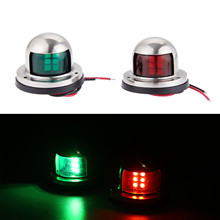 цены 1 Pair 2pcs Boat Accessories Stainless Steel 12V LED Bow Sailing Signal Navigation Lamp Red Green Light For Marine Yacht Pontoon