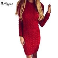 Rugod Vestidos 2017 Bağbozumu O-Boyun Uzun Kollu Kış Ince Parti Elbiseler Kadınların Gündelik Örme Sıcak Kazak Elbise beyaz kırmızı gri