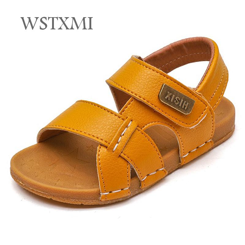 2019 Summer Children Sandals Boys Shoes For Kids Toddler Soft Anti-slip Beach Sandals Baby Girls PU Leather Casual Flat Sandals