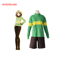 VEVEFHUANG Game Undertale Protagonist Frisk Chara Hoodie Sweater Top Shirt Shorts Cosplay Costume Undertale Protagonist Frisk Co