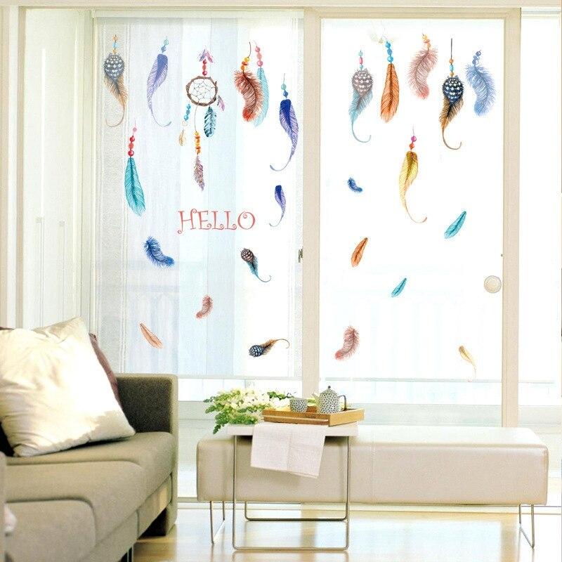 NºColorido Plumas patrón Adhesivos de pared para niños habitación ...