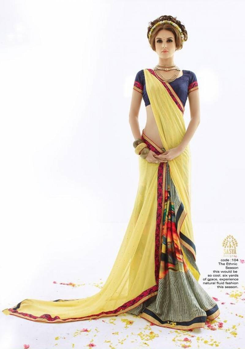 Sexy Short Sleeves Women Sarees Traditional Indian Women -5971