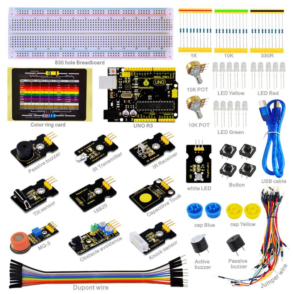 NUOVO! Keyestudio Sensor Starter Kit-K1 Per Arduino Istruzione di Apprendimento di Programmazione con UNO R3 + DS18B20 + IR Ricevitore + Trasmettitore IRNUOVO! Keyestudio Sensor Starter Kit-K1 Per Arduino Istruzione di Apprendimento di Programmazione con UNO R3 + DS18B20 + IR Ricevitore + Trasmettitore IR