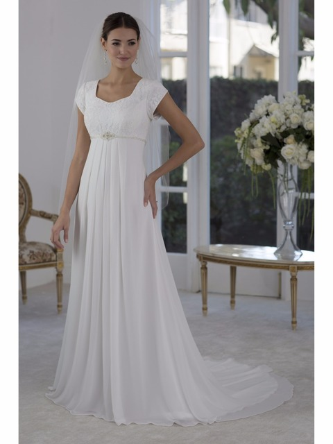 7d81512cb791 Lace Chiffon Beach Maternity Wedding Dresses Modest With Cap Sleeves Beaded  Belt Buttons Back Empire Informal Reception Gowns