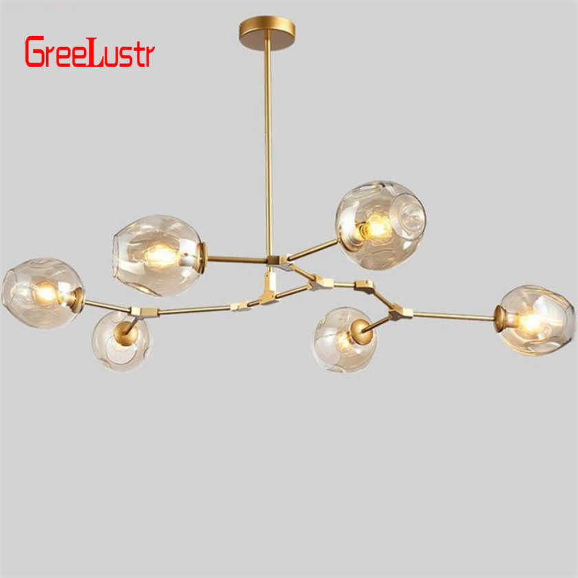 Glass Balls led Chandelier Lighting Modern Hanging Lamp Dining Room Kitchen Children Chandeliers Ceiling Lustre Home Decor