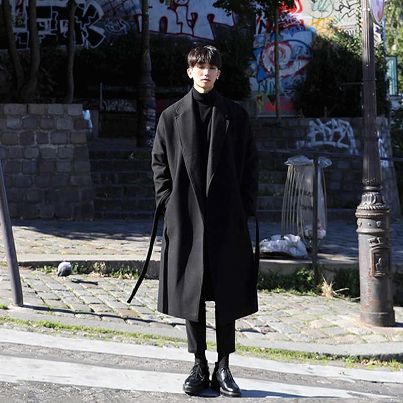 M-XL!! Trench mâle long design épaississement thermique laine manteau mâle vêtements coupe large laine