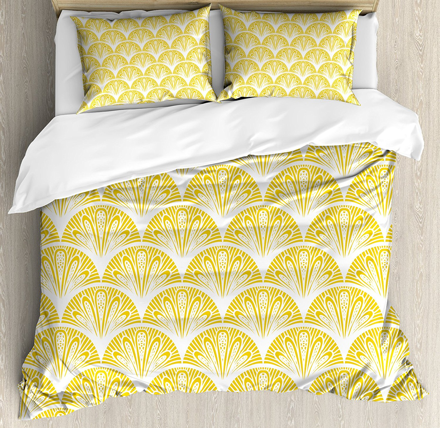 Yellow and White Duvet Cover Set Rounded Floral Motifs ...