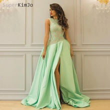 SuperKimJo Vestidos De Gala Mint Green Lace Prom Dresses 2019 Satin Sleeveless Elegant Gown Jurken