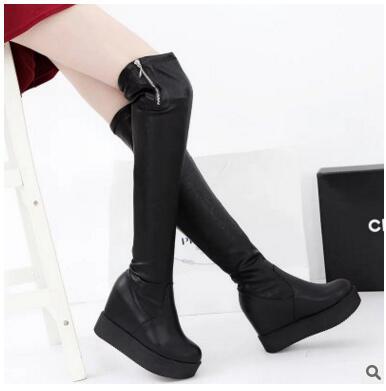 ФОТО 2016 women's Long boots high heel fashion ankel boots party Female marin boots cotton botas footwear zip Warm Thick Heel