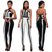 2019 Sexy Halter Backless Jumpsuits Women High Waist Print Sleeveless Rompers Overalls Office Lady