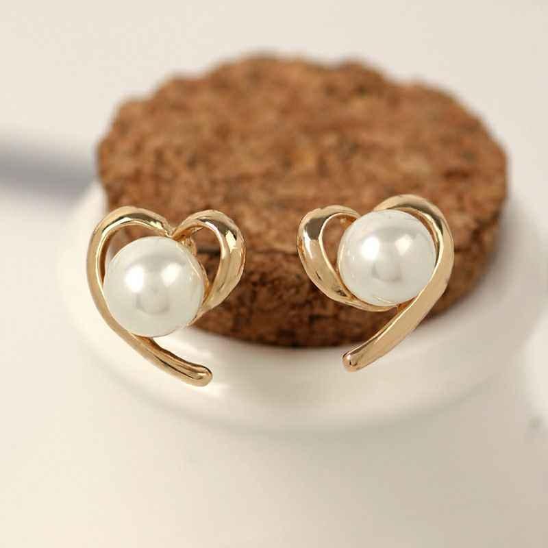 Moda takı yeni marka tasarım altın gümüş renk İnci saplama küpe kadınlar için çiçek küpe yeni aksesuarları toptan