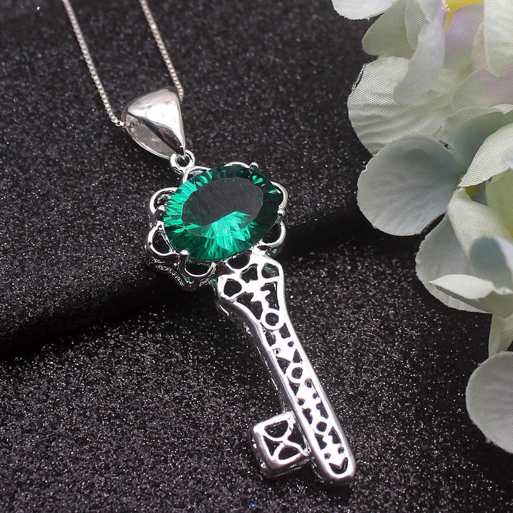 Maravilloso diseño de llave Natural verde Topaz925 collar de plata esterlina colgante 20 pulgadas envío gratis