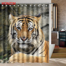 WONZOM Waterproof Shower Curtain Gift 3D Tiger Home Bathroom Curtains with 12 Hooks Polyester Fabric Animal Bath