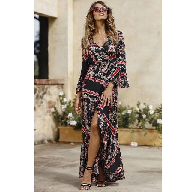 Boho style long dress women long Sleeves beach summer dresses Floral print  Vintage chiffon black maxi dress vestidos 6336a6967