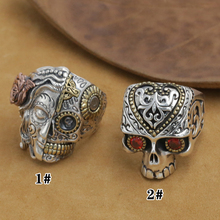 цена на NEW! Handmade 925 Silver Skull Ring Man Ring VintageSterling Silver Skull Ring Pure Silver PUNK Ring Jewelry Gift