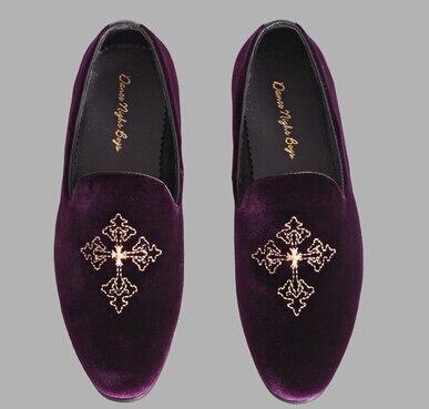 men dress shoes purple velvet loafer
