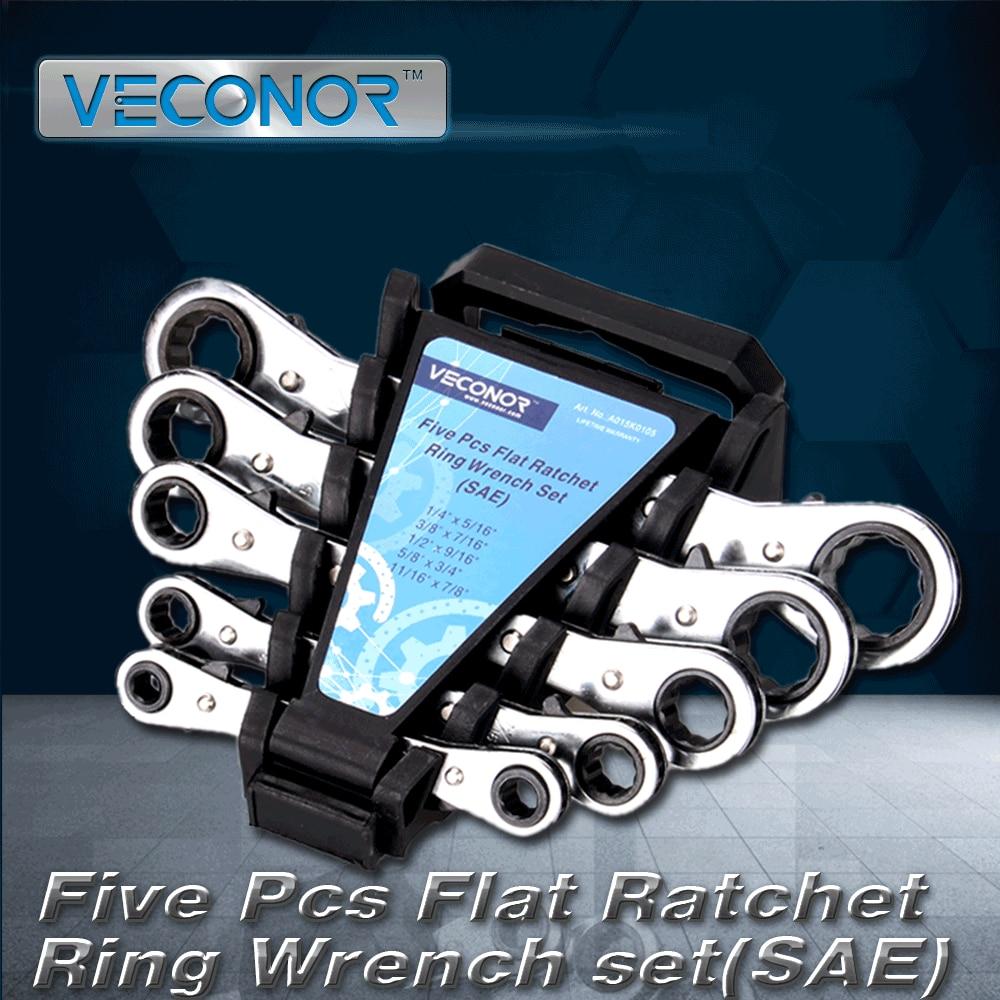 VECONOR 5pcs Set di chiavi a cricchetto doppie piatte Set I Strumento - Utensili manuali - Fotografia 2