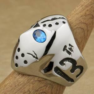 Image 3 - LINSION 316L Stainless Steel Halloween Jason Mask Hockey Blue CZ Eyes Mens Biker Rocker Punk Ring Cubic Zirconia Ring 3F101