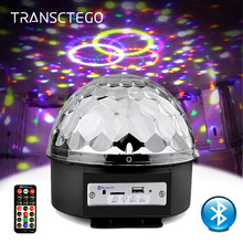 9 Color LED Disco Light With Mp3 Player Bluetooth Speaker Disco Ball Laser Party Lights 18W DJ Stage Lamp Lumiere Soundlights(China)