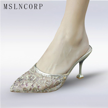 size 34-43 Summer New Fashion Slides Women Sexy Lace Upper Thin High Heels Slippers Pointed toe Mules Shoes Ladies Pumps Sandals wetkiss pleuche thick heels ladies slippers metal decoration slides pointed toe footwear summer fashion casual women mules shoes