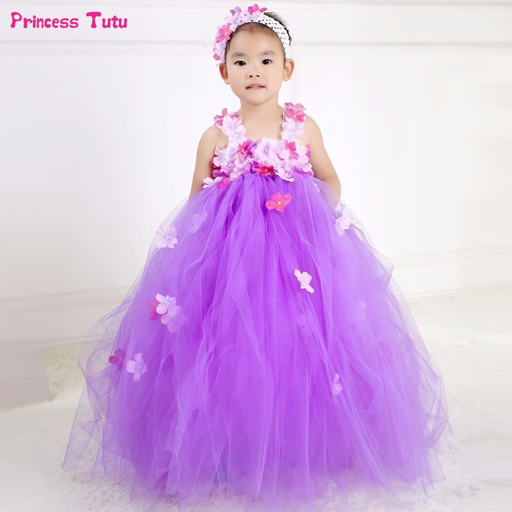 Children Flower Fairy Girl Tutu Dress Tulle Kids Girls Party Wedding Ball Gown Dress Fancy Halloween Girls Aurora Princess Dress children girls christmas dress kids tulle new year clothes fancy princess ball gown baby girl xmas party tutu dress costumes