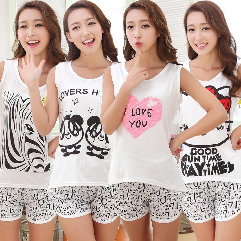 2019 Summer Women Cute Cartoon Pyjamas Set Sleeveless Cotton Girl Pajamas Home Suit Sleepwear Female Pajamas Set T-Shirt+Short