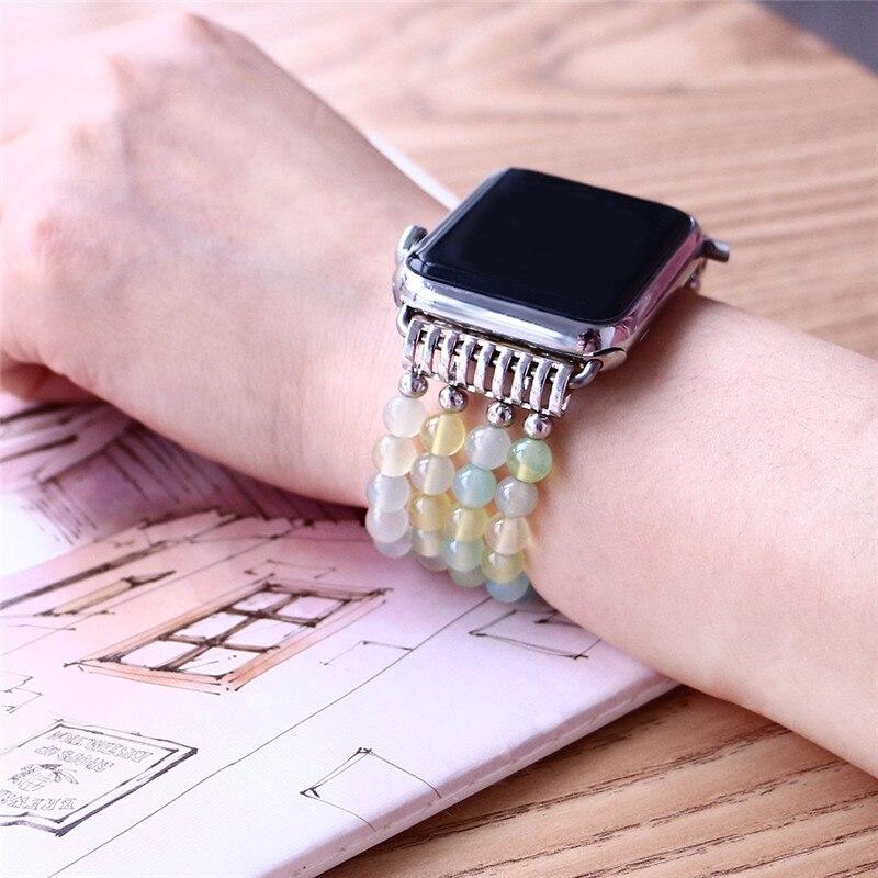 Watch Accessories Fashion Hematite Stone Apple Watchbans For Iwatch Heart Star Watch Strap Women Men 38mm 42mm Elastic Watch Band Bracelet Watchbands