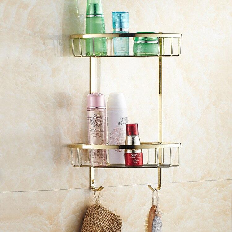 AUSWIND Kupfer zirkon gold farbe doppel dreieck korb badezimmer eckregal 2 stock badezimmer regal bad accessoires - 5