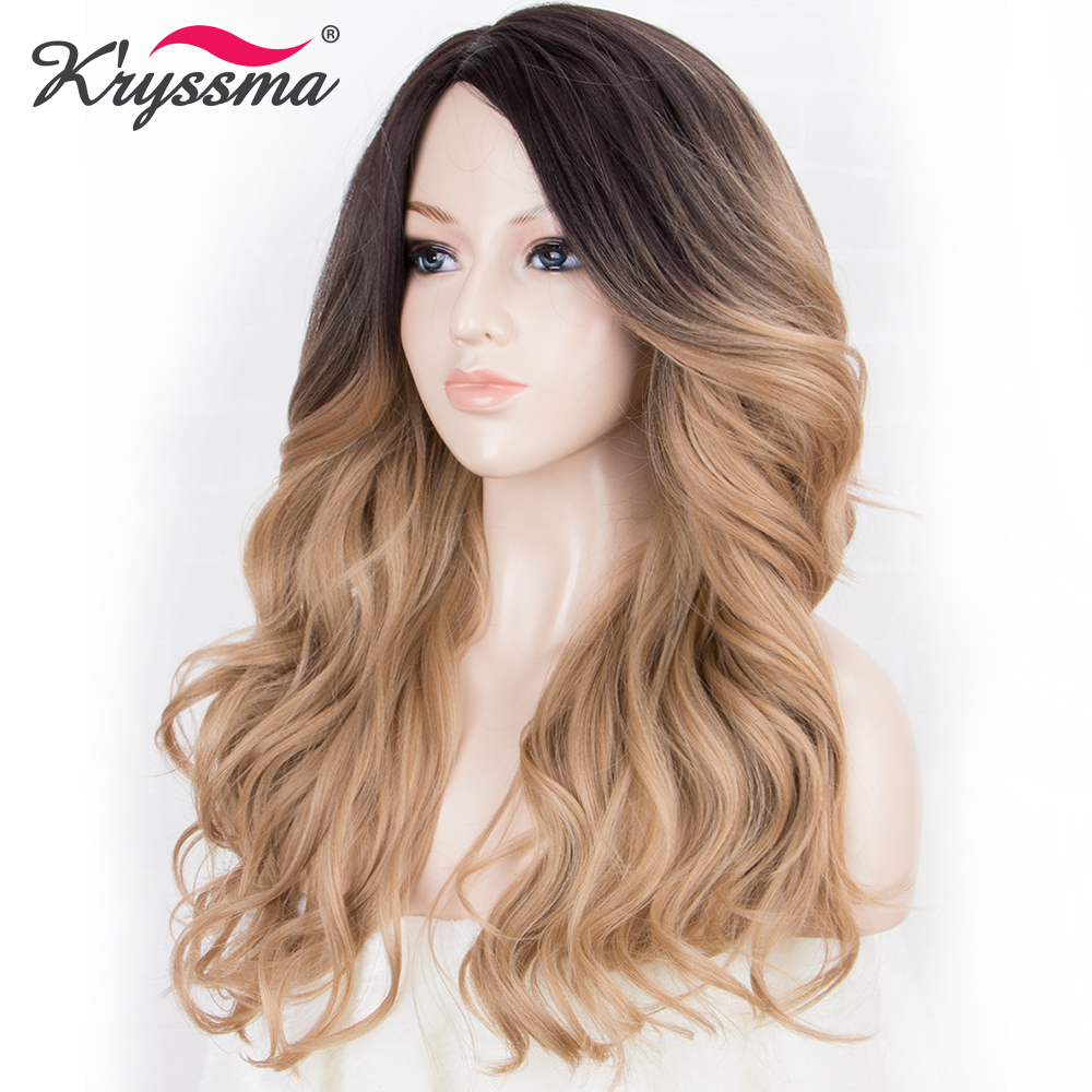 Long Blonde Synthetic Wigs For Women Dark Roots To Blonde Ombre Wig 130% Density Wavy Soft Fiber 18 Inches Right Part Glueless