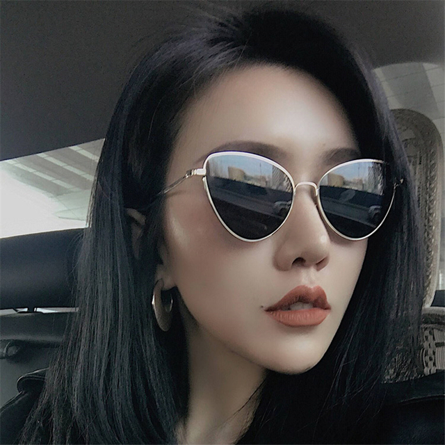 12c1ce749717b Small red cat eye sunglasses women yellow black tinted Color Lens vintage  eyewear metal sun glasses