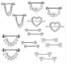 8pair/set New Style Fashion Heart Nipple Rings Piercing Women Stainless Steel Silver Crystal Nipple Rings Jewelry Body Piercing
