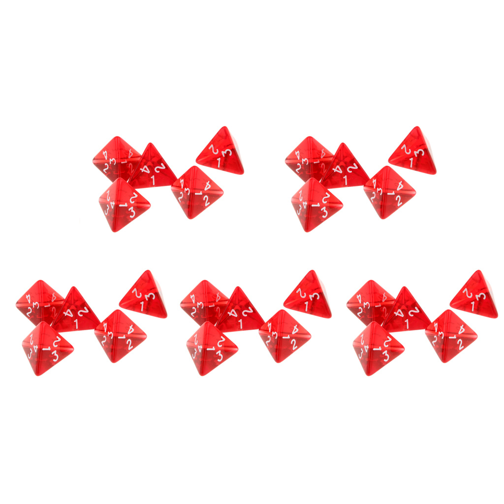 25Pcs 4 Sided Plastic Colors Polyhedral Dice Gem Numeral Dices Table Board Game Accessories for Dungeons Dragons Red in Board Games from Sports Entertainment