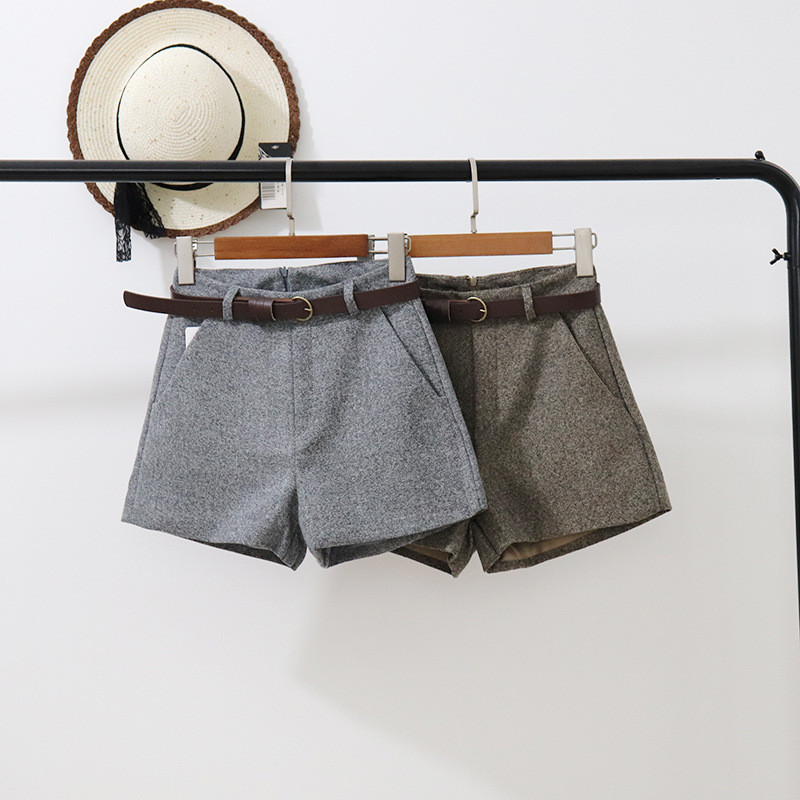 Spring Casual Shorts Women Korean High Waist Thick Sashes Wide Leg Shorts Female Gray Black Green Casual Bottom