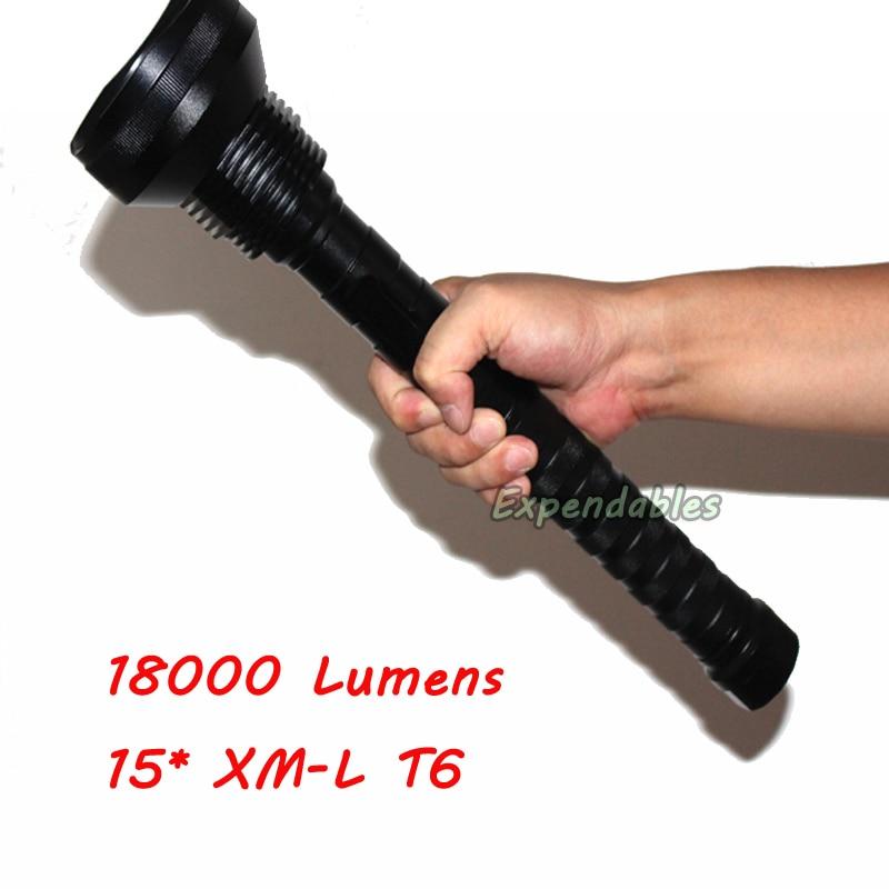 18000 Lumens 15 x XM-L T6 LED 5 Light Modes Waterproof Super Bright Flashlight with 1200m Lighting Distance 15led cree xm l t6 18000 lumens led flashlight 5 mode waterproof super bright torch flash light 1200m lighting distance light