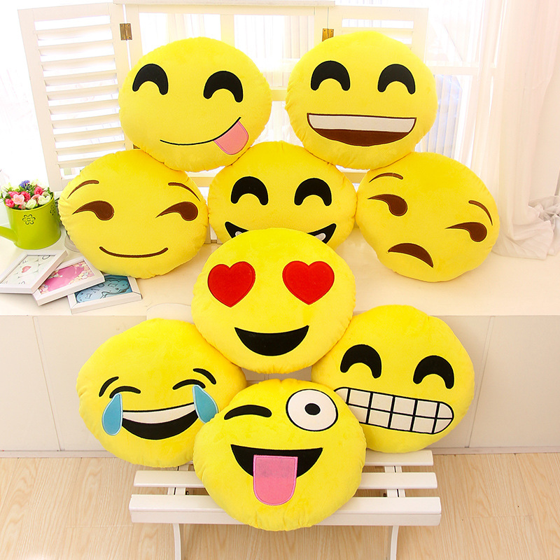 Hot sale Soft Round Smiley Face pillow Stuffed Plush Emotion Toy Cushion Coussin Cojines bed throw emoji pillow gift