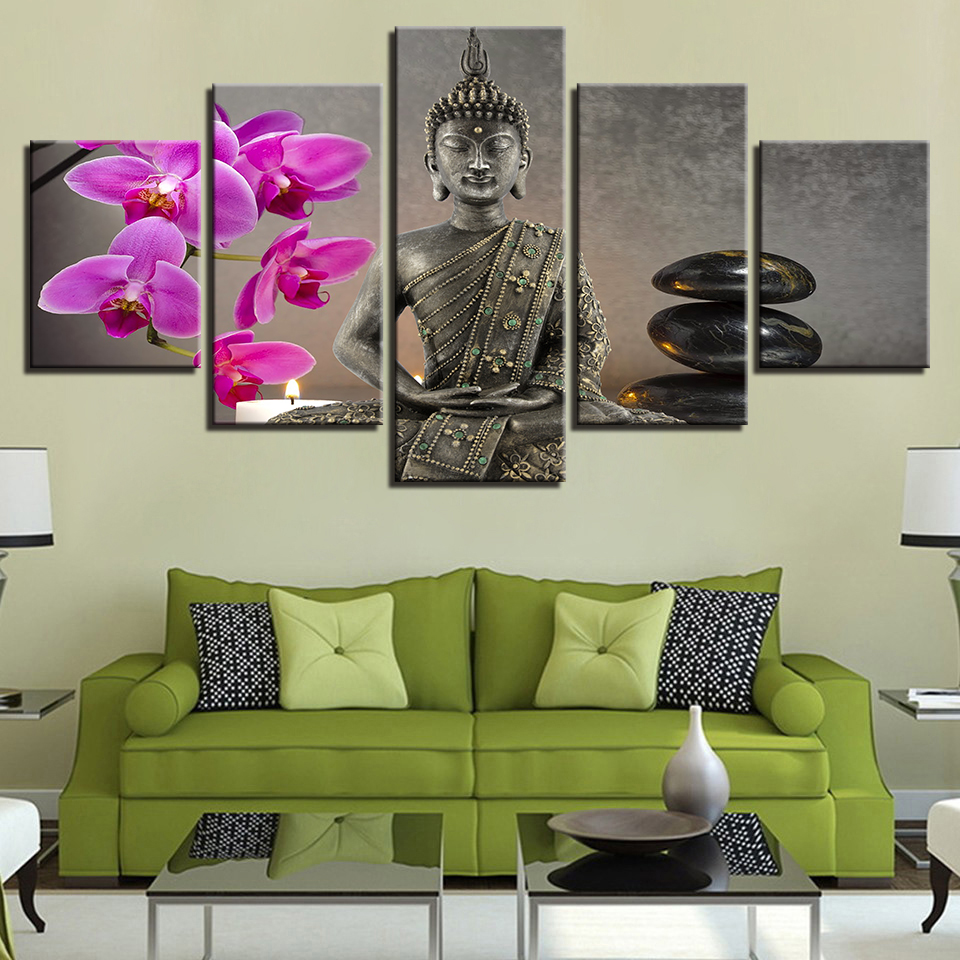 Print Painting For Living Room Home Decor 5 Panel Buddha Cuadros Modular Flower Pictures Poster Frame High Quality Canvas
