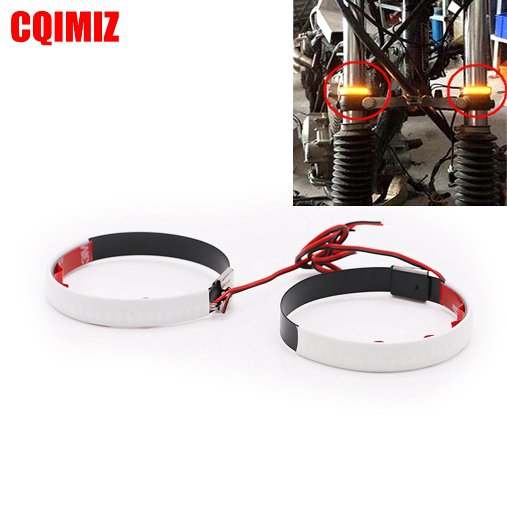 2 PCS Amber LED Strip <font><b>Bike</b></font> Motorcycle Car Fork Turn Signal Indicator <font><b>Light</b></font> <font><b>Blink</b></font> 45MM-70MM image