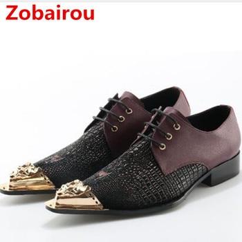 Italian mens shoes Zobairou brands gold iron toe alligator shoes for men dress wedding loafers crocodile skin designer shoes men