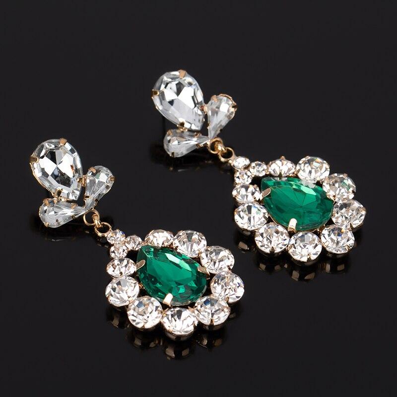 YFJEWE Arrival Flower drop red blue green color crystal earrings jewelry  mosaic bling ladies formal dress bridal earrings  E081-in Drop Earrings  from ... 62489739482a
