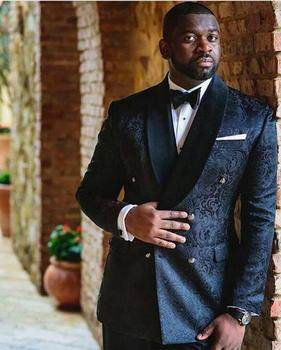 Black Jacquard Fabric Men Blazer Suit Groom Tuxedo Man Dinner New Fashion Suits