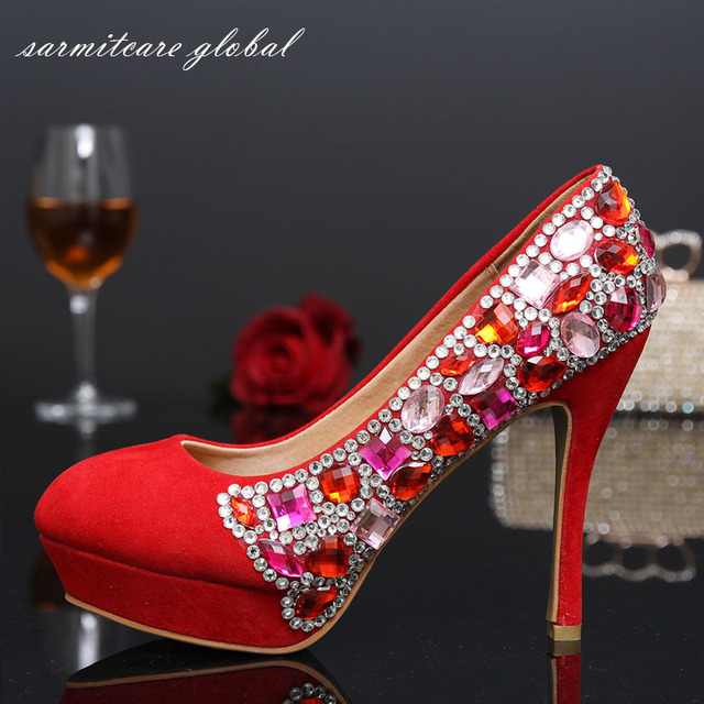 Handmade Stick Colorful Rhinestones with Fleece Fabric Covered Platform  High Heels Crystal Wedding Shoes Bridal Shoes - 000460 09134de7ceb5