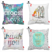 Abstract Watercolor Painting Art High Heels Quote Words Print Decorative Pillowcase Cushion Covers Sofa Chair Home Decor()