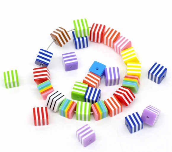 "Resin Spacer Beads Cube Mixed Stripe Pattern About 8mm( 3/8"") x 8mm( 3/8""), Hole: Approx 1.6mm, 25 PCs new"