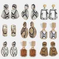 Miwens 2019 léopard peau de serpent métal boucles d'oreilles goutte femmes géométrique grand Sexy Dangle Punk 32 Designs bijoux style occidental A592