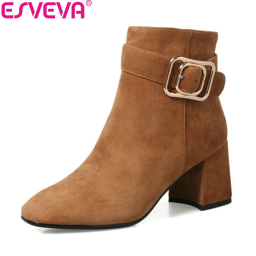 ESVEVA 2018 Buckle Women Boots Square High Heels Ankle Boots Round Toe Chunky Boots Zippers Convenience Ladies Boots Size 34-42 esveva 2018 women boots zippers black short plush pu lining pointed toe square high heels ankle boots ladies shoes size 34 39