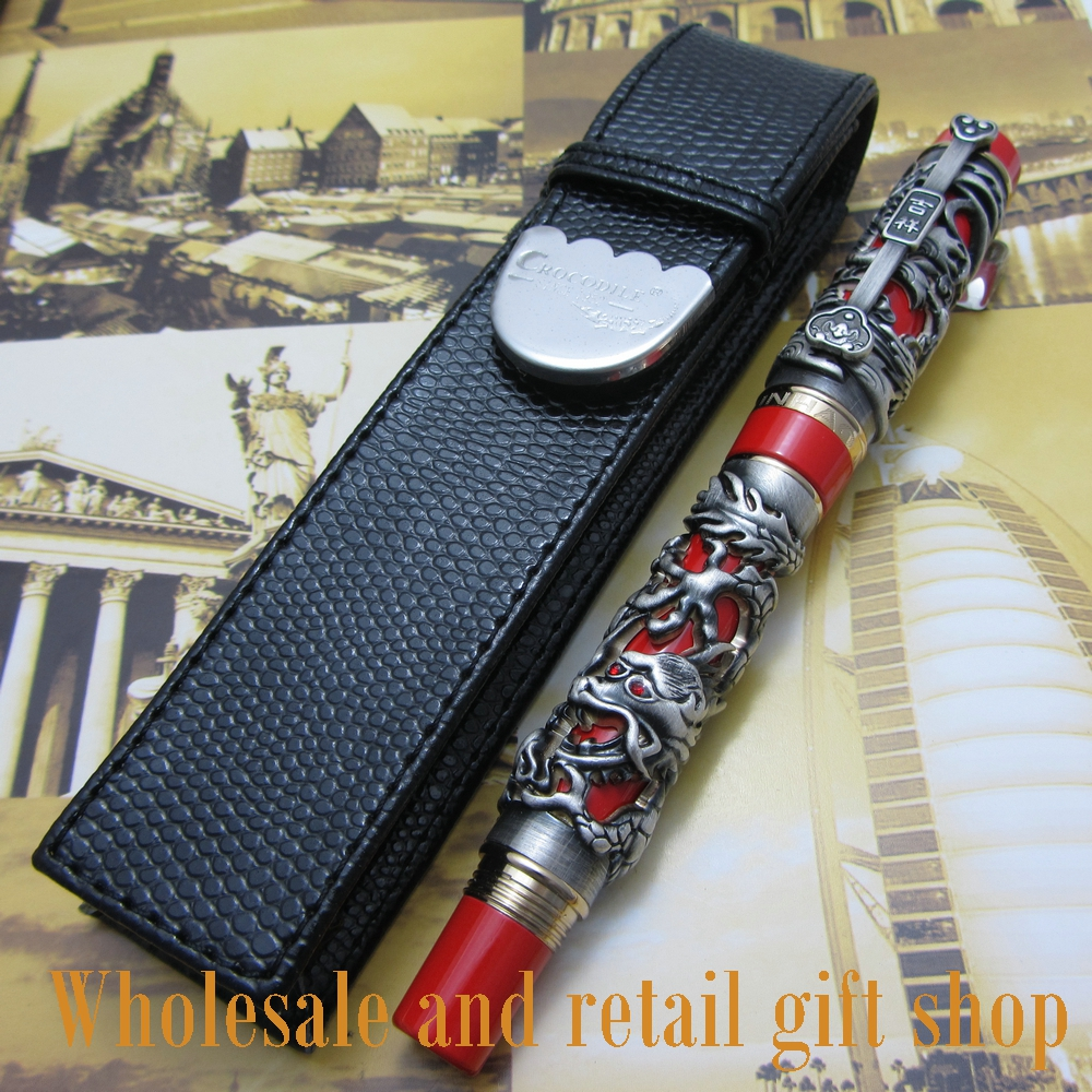 Jinhao Dragon Phoenix Heavy Gray Red Chinese Classical Luck Clip Fountain Pen and pen bag fountain pen jinhao j200 dragon and phoenix antique gold and red screw heavy pen chinese auspicious dragon